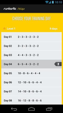 runtastic SitUps Pro App Trainingstag
