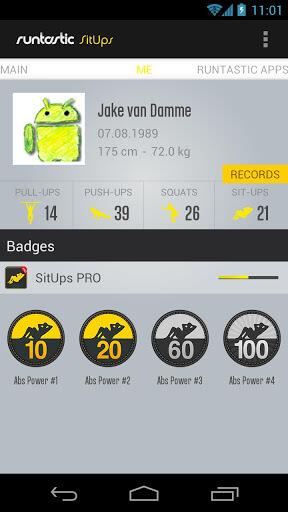 runtastic SitUps Pro Badges