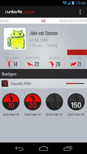 runtastic Squats Pro Badges