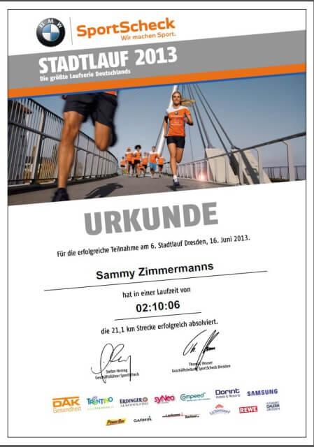 Halbmarathon-Urkunde