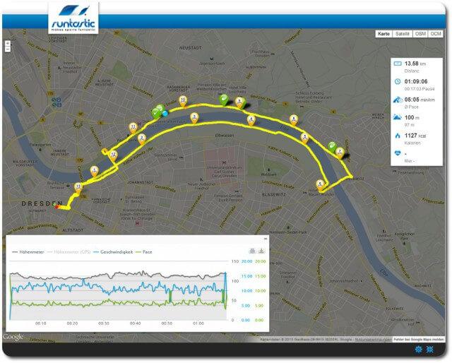 Meine Nachtlauf Dresden Route & Statistik