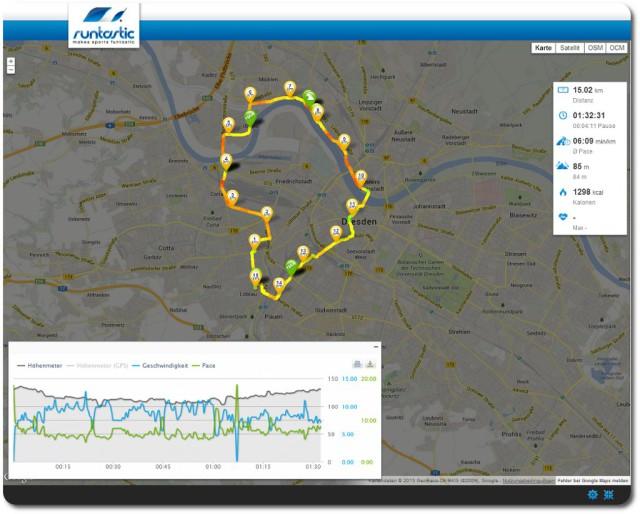 15 km Dauerlauf durch Dresden