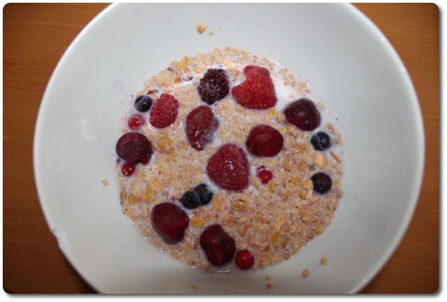 Mein Protein Müsli mit roten Beeren und Milch
