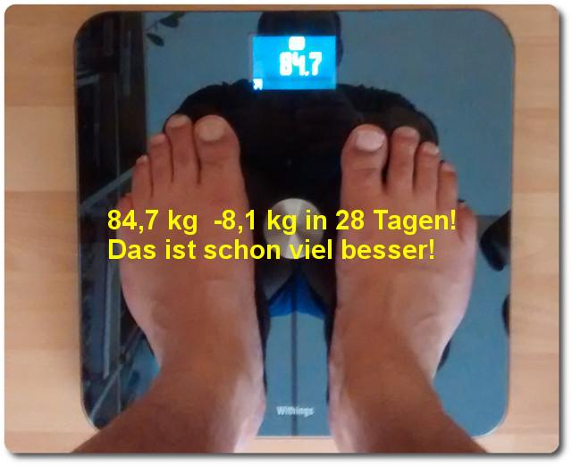 8,1 kg in 28 Tagen abnehmen