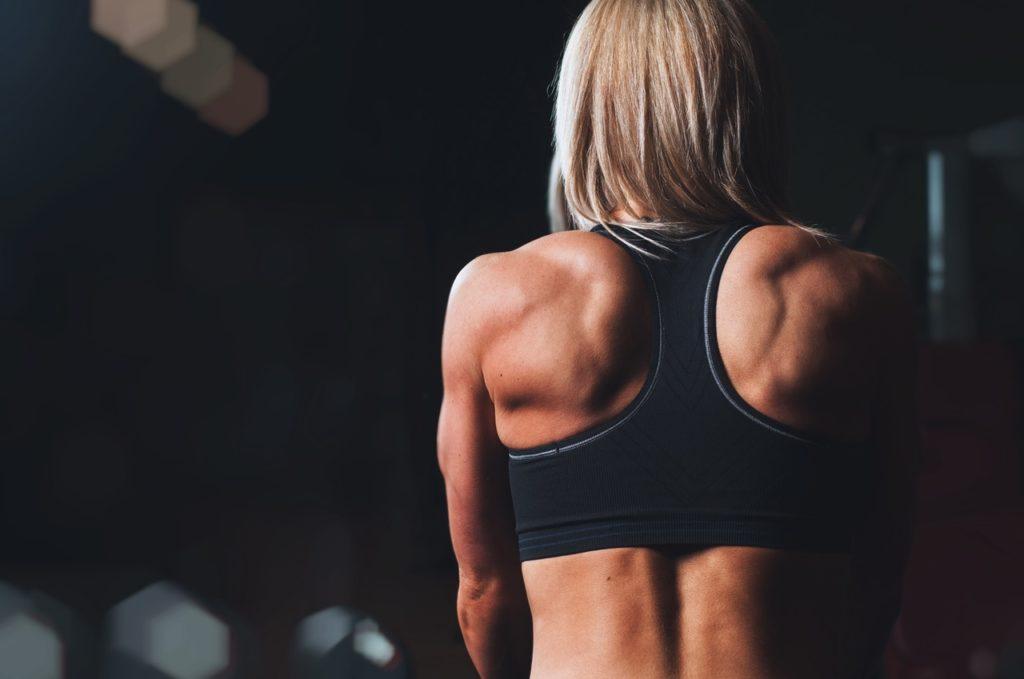 trainierter Frauen Rücken